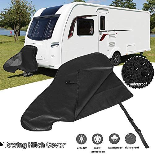 Cubierta de enganche de remolque para caravana, impermeable, de vinilo, para remolque, para remolque, protección contra la lluvia, nieve, universal, tela de nailon negro, resistente