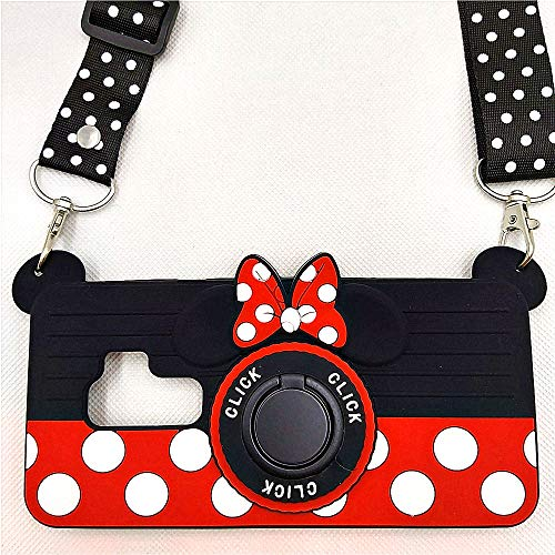 Galaxy S9 Plus Case Cute Galaxy S9+ Case Minnie Mouse 3D Camera with Rotating Ring Grip Holder Kickstand Lanyard Teens Girls Women Soft Silicone Rubber Cover for Samsung Galaxy S9 Plus -6.2' (S9+)