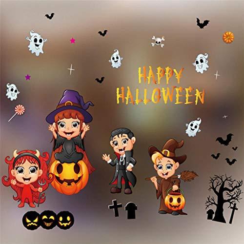 Zhangsanlisi Happy Halloween Wandaufkleber Kürbis Hexe Baum Abnehmbare Aufkleber Für Hauptfenster Wanddekor Niedlich