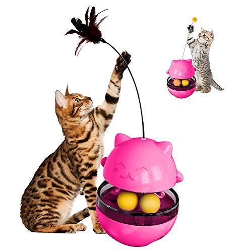 Katzenspielzeug mit Rolling Ball und Federn, Interaktives Spielzeug für Katzen, Futterautomat Katze(Pink)