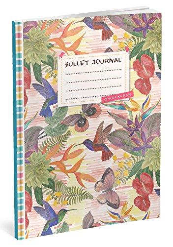 Bullet Journal: Punktraster Notizbuch (Ca. A5) + 100 Seiten + Vintage Softcover   TOP Motiv: Dschungel   Dot Grid Journal, Kalligraphie Übungsheft, Punktpapier +++ Jetzt mit Register +++
