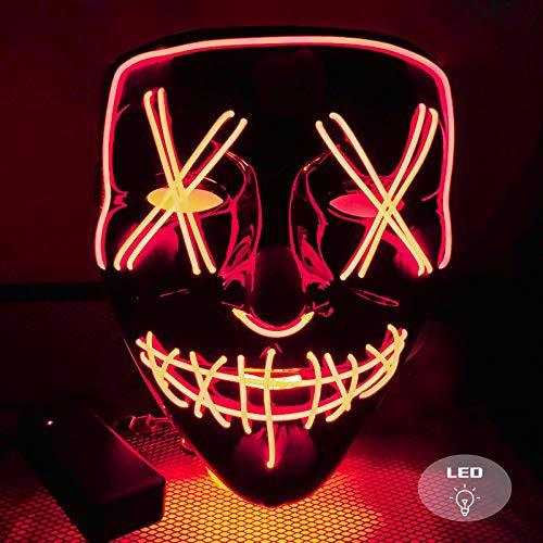LISOPO LED Purge Maske Halloween Masken Fasching Festival Party Cosplay Maske mit 3 Blitzmodi für Halloween Fasching Karneval Party(rot)