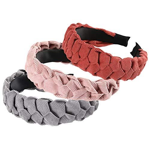 WELROG Gepolstert Stirnbänder Frauen Dick Samt 90s Haar Zubehör Kopfband Spanisch Jahrgang Stil Alice Haarband (pink + grau + orangerot)