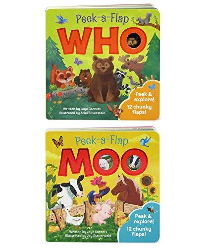 2 Pack: Moo and Who Peek-a-Flap books