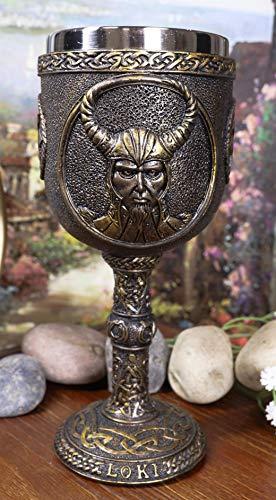 Ebros Norse Mythology Shapeshifter Trickster God Jotunn Loki 6oz Resin Wine Goblet Chalice With Stainless Steel Cup Liner Norselandic Viking Warrior Gods Odin Thor Vegvisir Compass Design