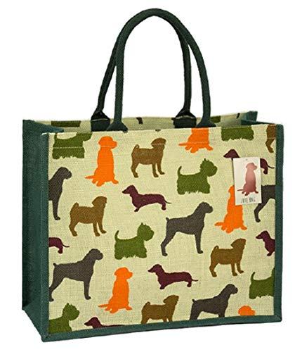 Umweltfreundliche Jute-Einkaufstasche mit Zwickel (Hunde)