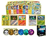 Pokémon Card & Coin Pack – 50+ Random Cards, Includes 3 Foil Cards, and 2 Foil/Holographic Rare Cards and 1 Pokémon Coin