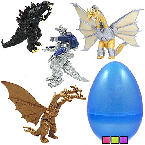 COOLINKO 4 Mega Godzilla Toy Figures with Movable Joint Inside 8 Inch Jumbo Plastic Easter Egg Perfect for Mecha Dinosaur Monster Fan Easter Basket