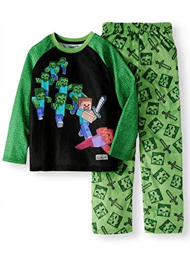 Minecraft Steve Battling Zombies Fleece 2 Piece Pajama Sleep Set (Large (10/12))