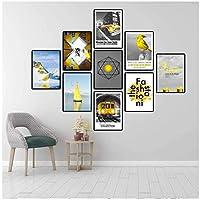 YQQICC モダンスタイルのポスタープリントウォールアートキャンバス絵画北欧の写真インイエローマウンテンファッション応接室家の装飾-30x40cmx9フレームなし