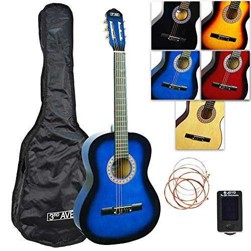 3rd Avenue Konzertgitarren-Set in Normalgröße mit Nylonsaiten, mit Tasche, Saiten und Stimmgerät – Blueburst