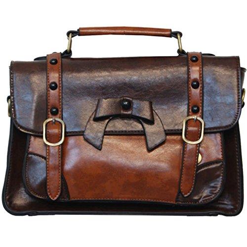 Banned Handtasche/Henkeltasche - Leather Bow Dunkelbraun