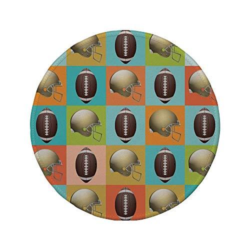 """Rutschfreies Gummi-rundes Mauspad Fußball Mosaikmuster aus bunten Quadraten mit Schutzhelmen und Bällen College-Aktivität Dekorativ mehrfarbig 7.9\""""x7.9\""""x3MM"""