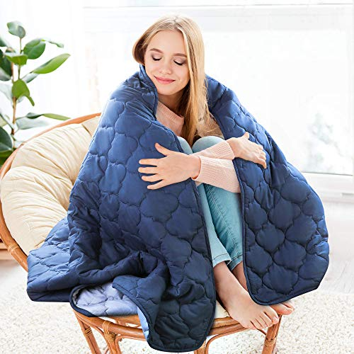 """Sagino Weighted Blanket for Adults- Twin Size, 48""""x72"""", 15 lbs - Heavy Cooling Blankets with Premium Glass Bead for Restlessness, Navy (Inner Layer Grey)"""