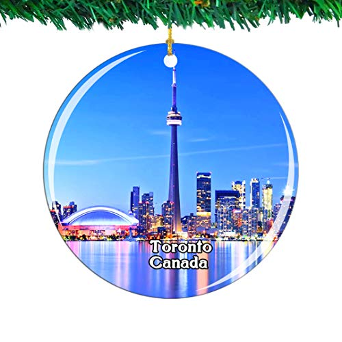 Weekino Canada CN Tower Toronto Christmas Ornament City Travel Souvenir Collection Double Sided Porcelain 2.85 Inch Hanging Tree Decoration
