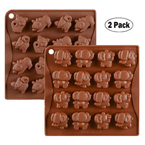 KBstore 2 Pièces Moule à Chocolat - Forme de Éléphant et Chat Moules en Silicone pour Bonbon/Glace/Mini Savon Gelée #1