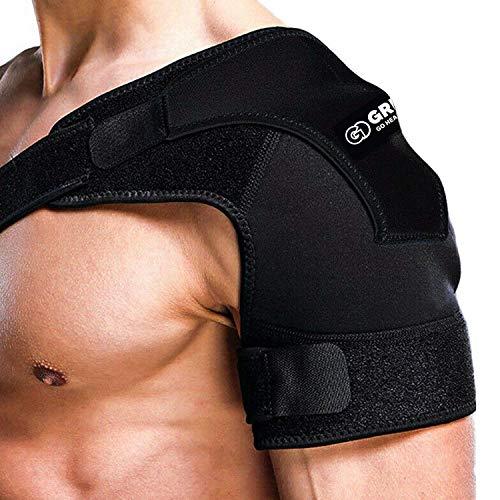 GRISPOT Shoulder Stability Brace for Men and Women, Adjustable Fit Sleeve Wrap.Relief for Shoulder Injuries,Shoulder Pain.(Regular Size))