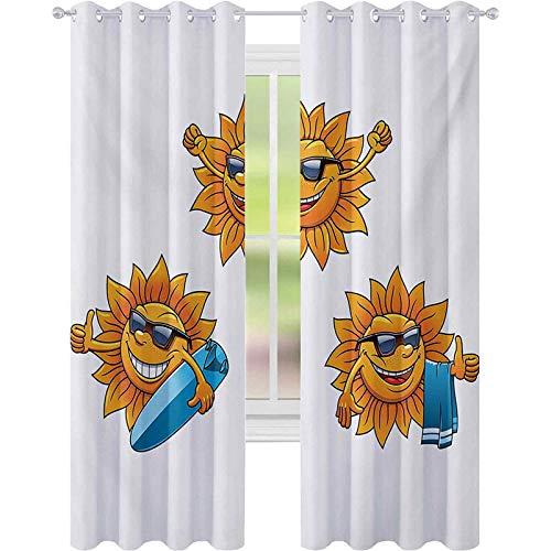 Cortinas opacas impresas, diseño de surf con sol y sombras y tablas de surf divertido diseño hippie verano niños 52 x L108 cortinas bloqueadas para sala de estar, color naranja y blanco