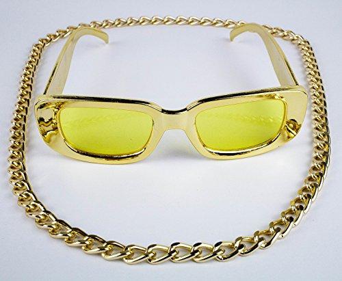 Panelize® Proll Lude Macho Proleth Angeber Hip Hop Rapper Bonzen Set Massive Panzerkette und Brille