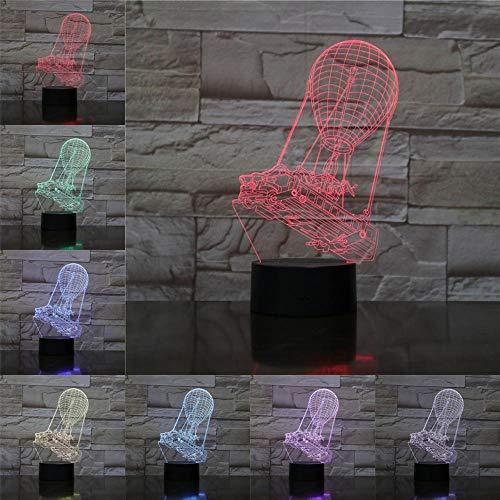 OMCR Illusion 16 Farbe Nachtlicht Nachtlicht Heißluftballon Glühbirne Filmenthusiast Geschenk Batterie Elektrokabel einschließlich Kinder Geschenk Blitz Lampe 16 Farben 3D gedruckt USB Wiederaufladbar