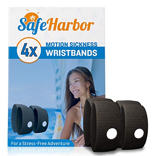 SafeHarbor Motion Sickness Wristbands | 4 Travel Wrist Bands, Cruise Essentials | Natural Sea Sickness and Nausea Relief in Children and Adults | Helpful E-Book Included