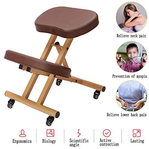 Ergonomic Kneeling Chair,Height Adjustable Office Chair Furniture Kneeling Posture Work Chair Orthopedic Stool Kid Knee Stool,Best Gift, Improve Sitting Posture,Brown