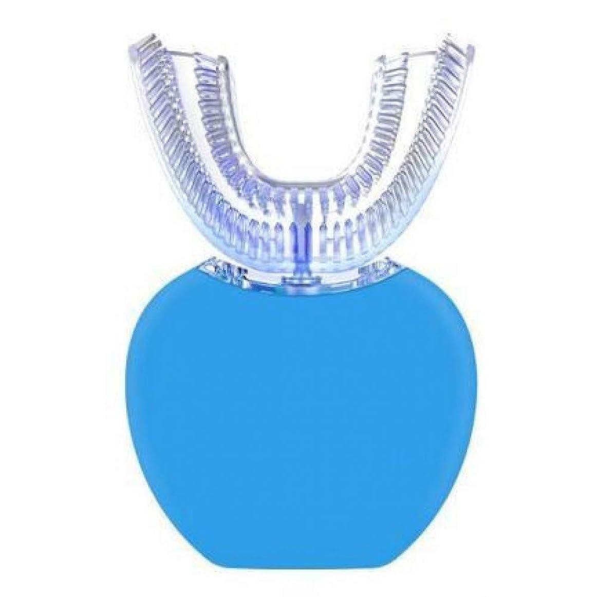 白くおよび殺菌のための青いライトが付いているU字型の自動360度の超音波電気マウスピースの歯ブラシ、青