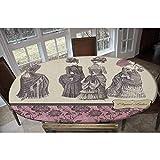 Mantel ajustable de poliéster elástico, para mujer, diseño floral, rectangular, ovalado, para mesas de hasta 122 cm de ancho x 172 cm de largo.