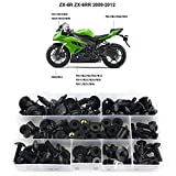 Xitomer Full Sets Motorcycle Fairing Bolts Kits, Fit for Kawasaki 2009 2010 2011 2012 NINJA ZX-6R 2009 2010 2011 2012 ZX6R, Mounting Kits Washers/Nuts/Fastenings/Clips/Grommets (Matte Black)