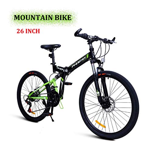 LYRWISHPB Mountain Bike Bicycle Adult Student Outdoors Sport Cycling 26 Inch Road Folding Bikes Exercise 24-Speed for Men and Women Multiple Colors to Choose (Color : Green)