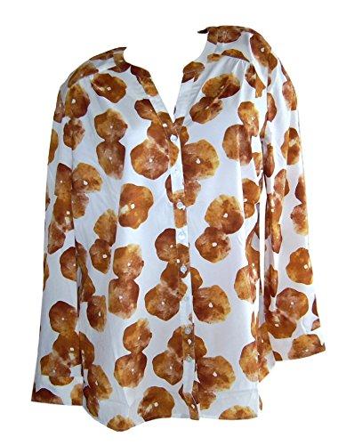 Sheego modische Bluse Longbluse gelb weiß Blumen Übergröße (50)