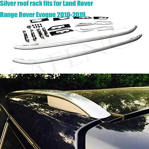 LAFENG Baca plateada para 2010-2019 Land Rover Range Rover Evoque 2 racks de aleación de aluminio para equipaje de techo