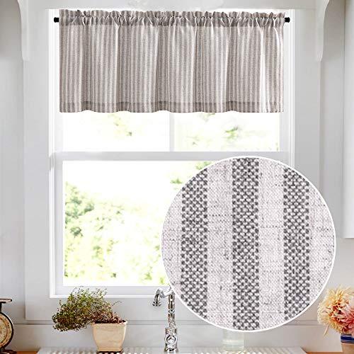"Valance Linen Textured Stripe Pattern Short Curtains for Kitchen Bathroom Rod Pocket Window Treatments 1 Panel 16"" Grey"