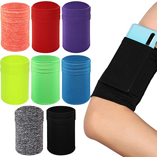 8 Pieces Arm Strap Wristband Holder Running Phone Arm Holder Phone Armband Wristband Phone Running Arm Raglan Sleeve Pouch Sport Mobile Holder Fits up to 6 Inch Phone, 8 Colors