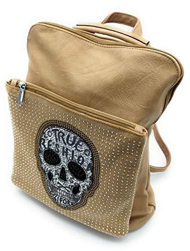 Beast Style Bolso mochila mujer, Mochila mujer, Mochila mujer diseño original calavera mujer (Kaki)