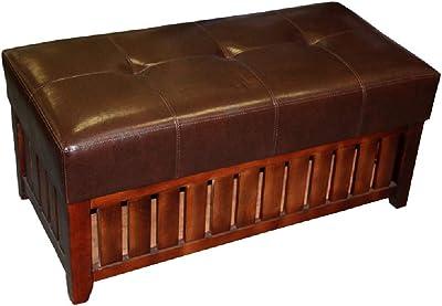 Benjara Leatherette Padded Storage Bench with Slatted Design on Frame, Brown