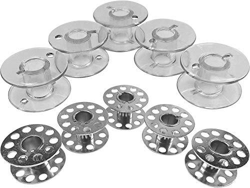 Bobinas de metal y plástico para máquina de coser Singer Talent 3323 y Tradition 2250, 2259, 2263, 2273, 10 unidades