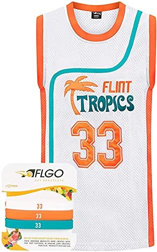 ALXLX Jerseys De Baloncesto De Los Hombres # 33 Flint Tropics Jackie Basketball Tank Top Sin Mangas Camiseta Sin Mangas Transpirable Traje De Entrenamiento De Secado Rápido, White - L