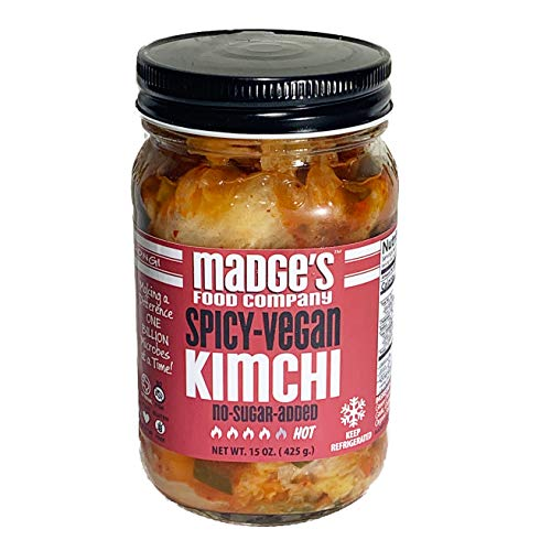 Madge's Premium Vegan Kimchi Spicy 15 oz - No-Sugar Added - Fermented - Raw - Probiotic