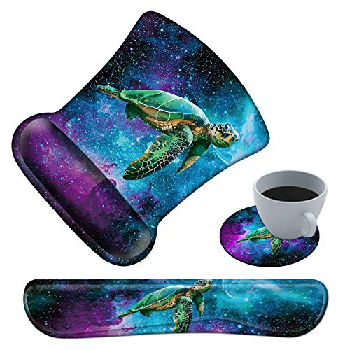 Ergonomic Mouse Pad with Wrist Support and Keyboard Wrist Rest Pad Spsun Non-slip Rubber Base Mousepad for Office Gaming Working Computers Laptop Easy Typing & Pain Relief + Coasters,Galaxy Sea Turtle