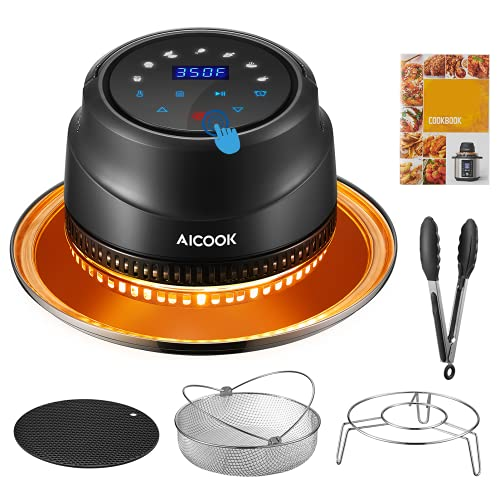 Air Fryer Lid for Instant Pot 6&8 Qt, 7 in 1 Air Fryer Lid with LED Touchscreen, Turn Your Pressure Cooker Into Air Fryer in Seconds, Air Fryer Accessories and Recipe Cookbook Included