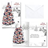 Patriotic Tree Christmas Card Set of 20