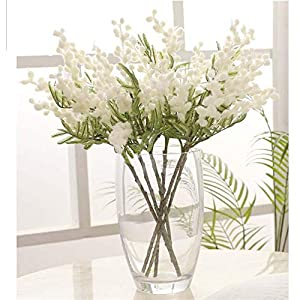 Fake Acacia Artificial Flowers Yellow Mimosa Spray Cherry Fruit Branch Photography Props Vase Accessory Wedding Decoration(White)