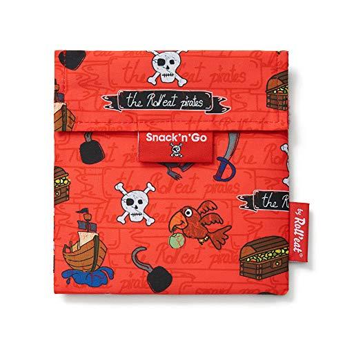 Roll'eat - Snack'n'Go Kids | Bolsa Merienda Infantil Porta Sandwich Reutilizable y Ecológico sin BPA, Piratas Rojo