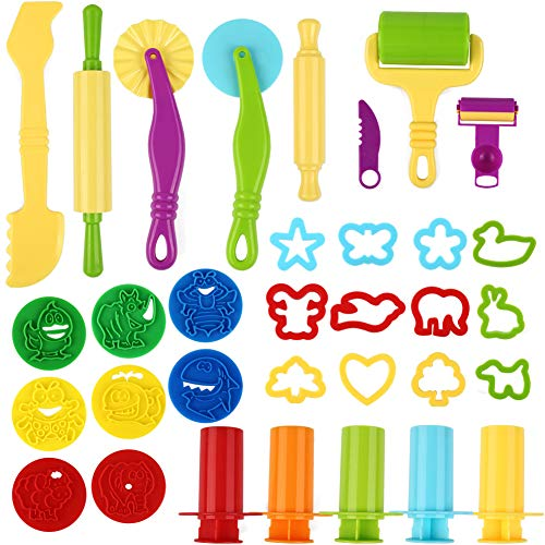 Etmury Strumenti per Plastilina, 33 Pezzi Accessori e Strumenti a Forme di Animali Strumenti per Impasti per Bambini Pasta in Plastica Stampi per Gioco da Cucina Set di Utensili