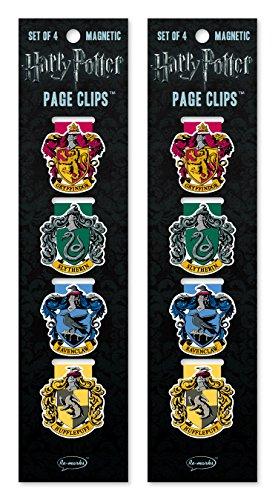 Re-marks Harry Potter Hogwarts-Hauswappen Magnetische Seitenclips – 2 Packungen mit 4 Lesezeichen