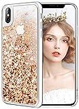 wlooo Funda para iPhone XS/X, Fundas iPhone XS, iPhone XS Glitter liquida Gradiente Cristal Silicona Bling Protector TPU Bumper Case Brillante Arena movediza Carcasa para iPhone XS/X (Oro Plata)