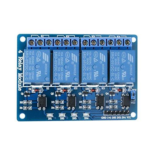 Elegoo 4 Kanal DC 5V Relaismodul mit Optokoppler für Arduino UNO R3 1280 DSP ARM PIC AVR STM32 Raspberry Pi