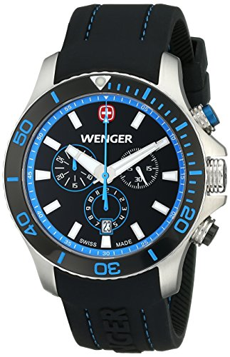 Wenger Homme 43mm Bracelet Silicone Noir Boitier Acier Inoxydable Saphire Quartz Montre 0643.103