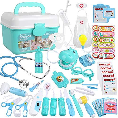 Anpro 46 pcs Kit Maletin de Doctor y Enfermera,Juegos de Niños,Kit de Dentista con Estetoscopio y Abrigo,Regalo para Niños en Fiestas,Cumpleaños,Navidad, Juego de Roles del Doctor